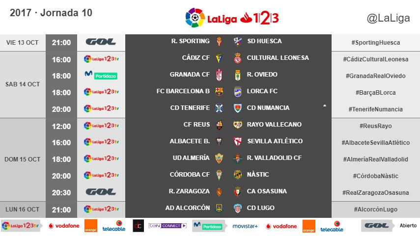 Horarios de la jornada 10 de LaLiga 1l2l3 2017/18