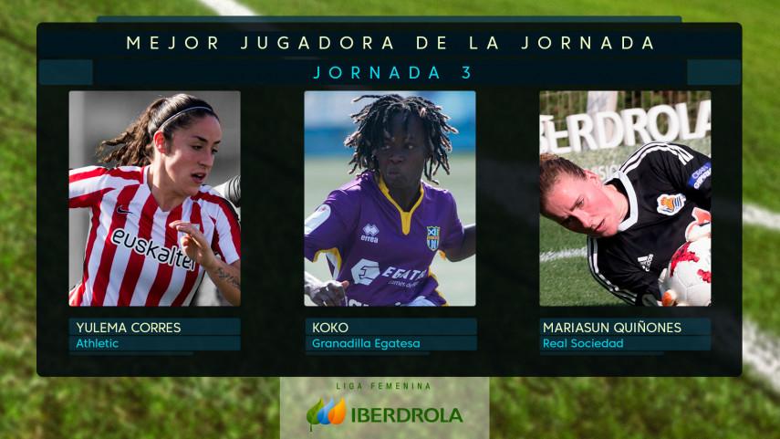 ¿Quién fue la mejor jugadora de la jornada 3 de la Liga Femenina Iberdrola?