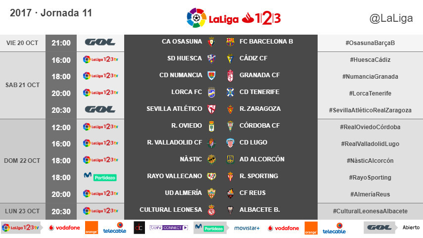 Horarios de la jornada 11 de LaLiga 1l2l3 2017/18