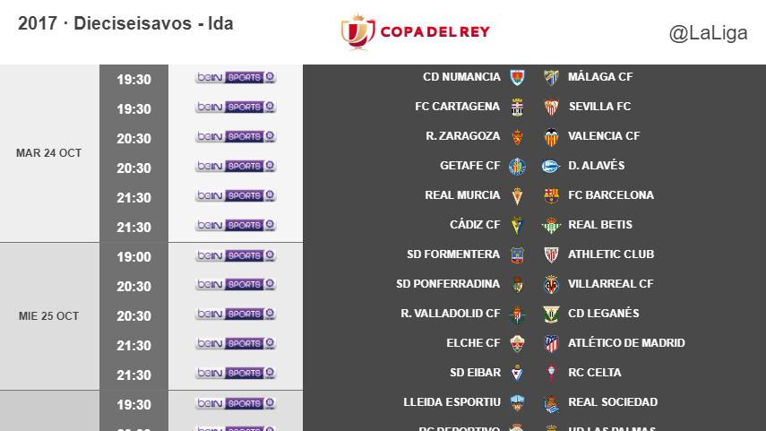 Horarios de la ida de dieciseisavos de final de la Copa del Rey 2017/18