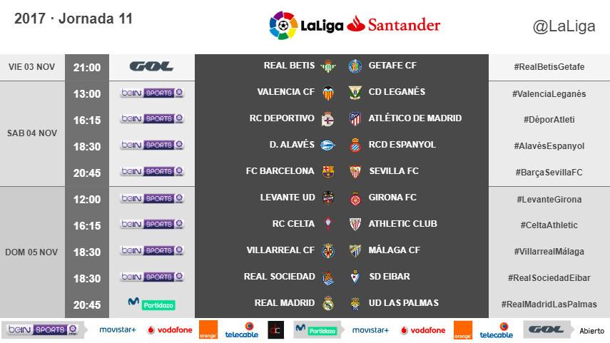 Horarios de la jornada 11 de LaLiga Santander 2017/18