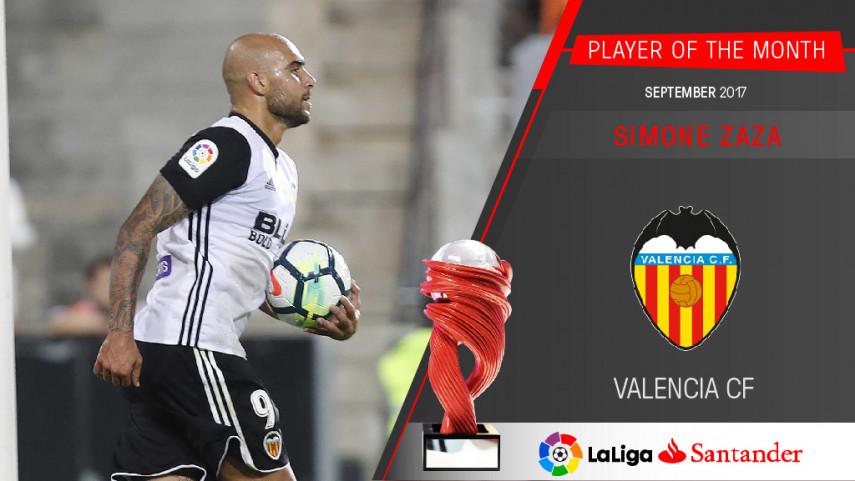 Simone Zaza named LaLiga Santander Player of the Month for September