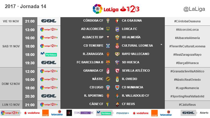 Horarios de la jornada 14 de LaLiga 1l2l3 2017/18