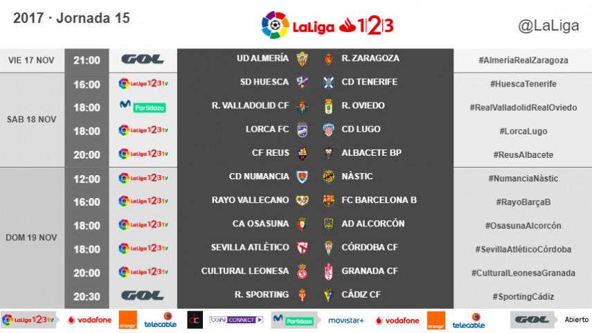 Horarios de la jornada 15 de LaLiga 1l2l3 2017/18