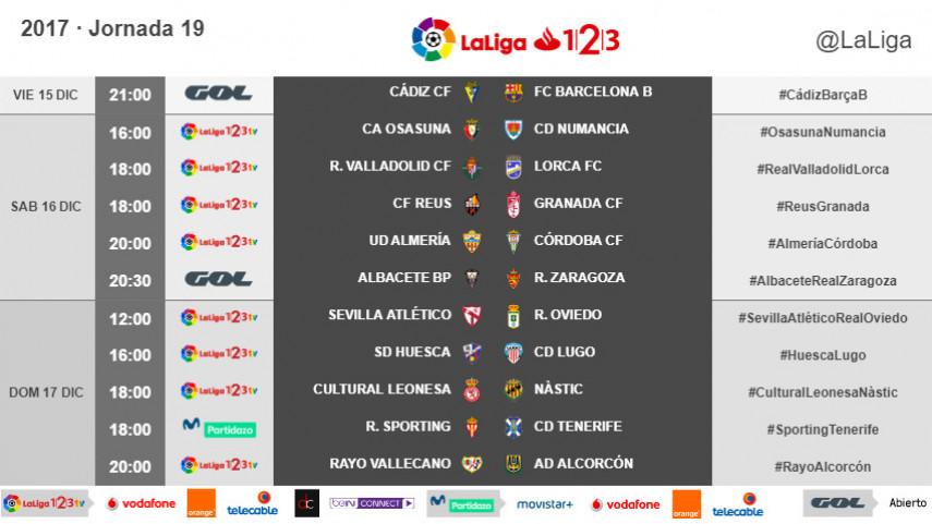 Horarios de la jornada 19 de LaLiga 1l2l3 2017/18