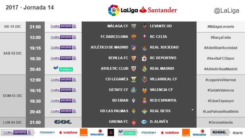 Horarios de la jornada 14 de LaLiga Santander 2017/18