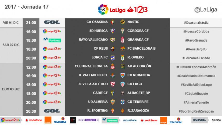 Horarios de la jornada 17 de LaLiga 1l2l3 2017/18