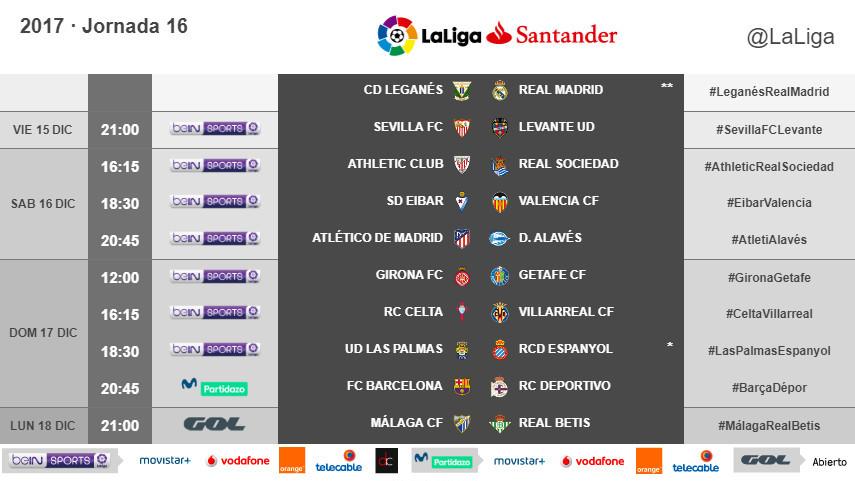 Horarios de la jornada 16 de LaLiga Santander 2017/18