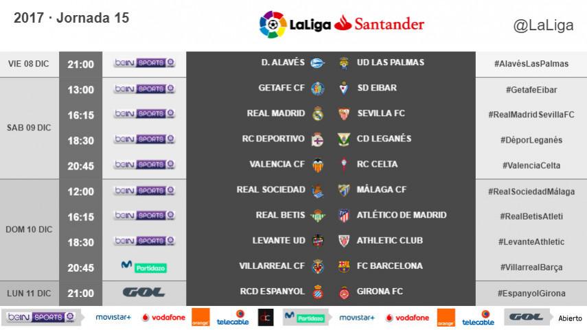 Horarios de la jornada 15 de LaLiga Santander 2017/18