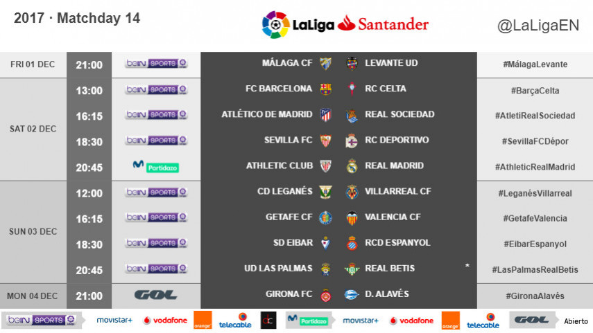 The kickoff times for Matchday 14 of LaLiga Santander 2017/18