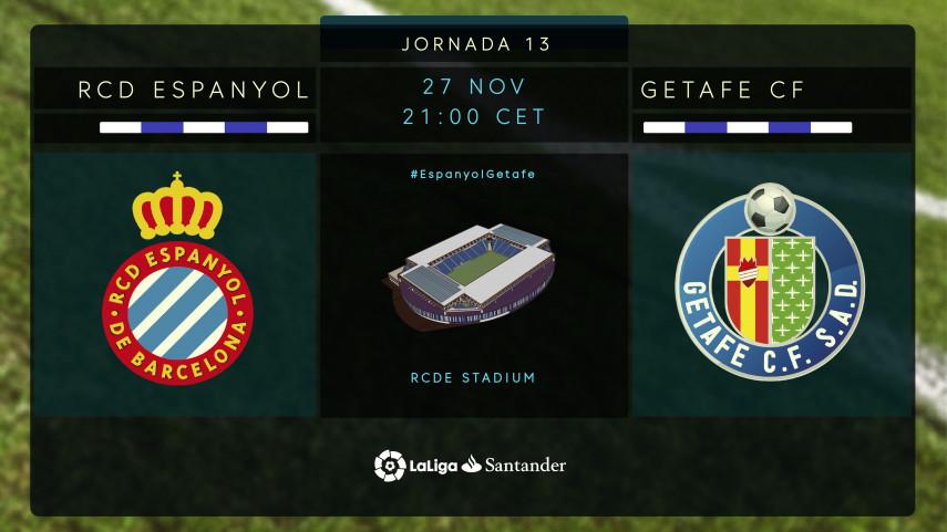 Espanyol y Getafe cierran la jornada 13 de LaLiga Santander