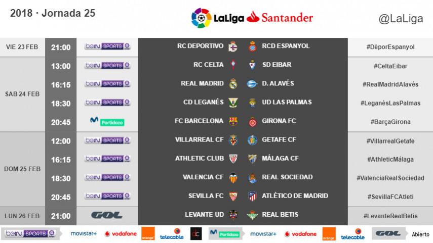 Horarios de la jornada 25 de LaLiga Santander 2017/18