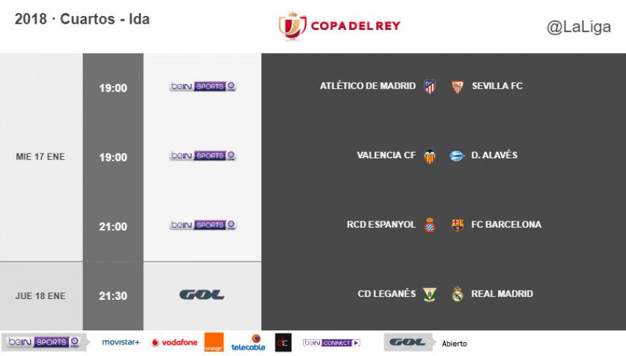Horarios de la ida de cuartos de final de la Copa del Rey 2017/18 ...