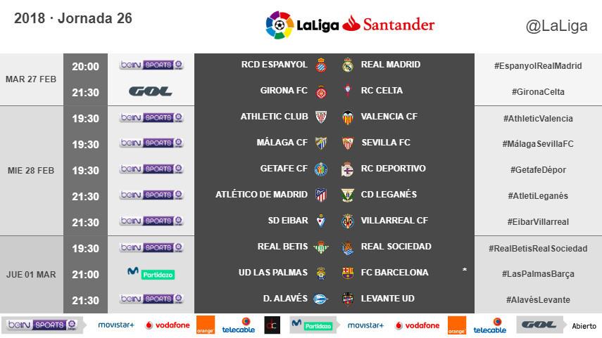 Horarios de la jornada 26 de LaLiga Santander 2017/18