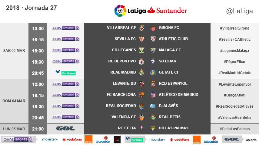 Horarios de la jornada 27 de LaLiga Santander 2017/18