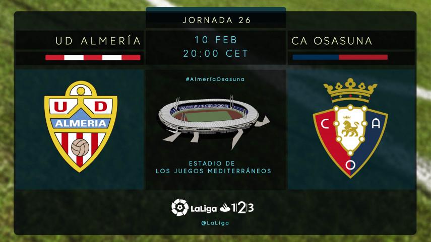 Osasuna busca acercarse a los play-off ante un necesitado Almería