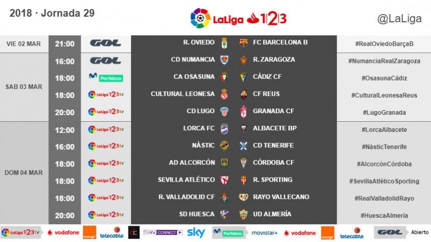 Horarios de la jornada 29 de LaLiga 1l2l3 2017/18