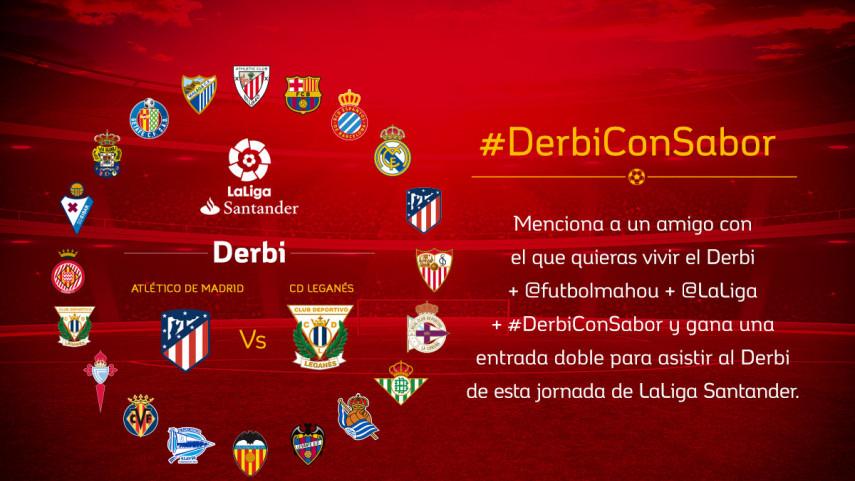 ¿Con quién quieres vivir el #DerbiConSabor entre Atlético de Madrid y CD Leganés de la jornada 26?