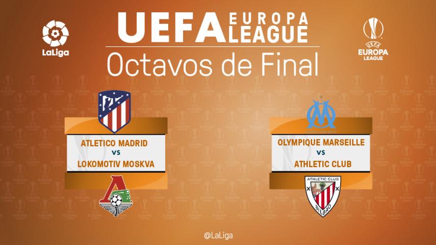 Atlético y Athletic ya conocen sus rivales en octavos de la Europa League