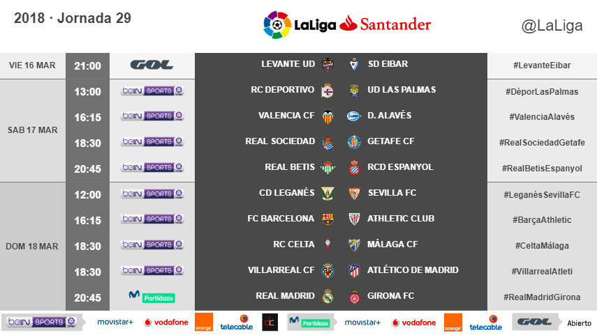 Horarios de la jornada 29 de LaLiga Santander 2017/18