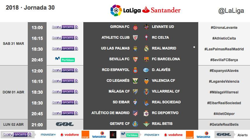 Horarios de la jornada 30 de LaLiga Santander 2017/18
