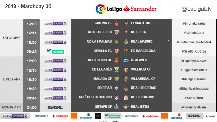 Kickoff times for Matchday 30 in LaLiga Santander 2017/18
