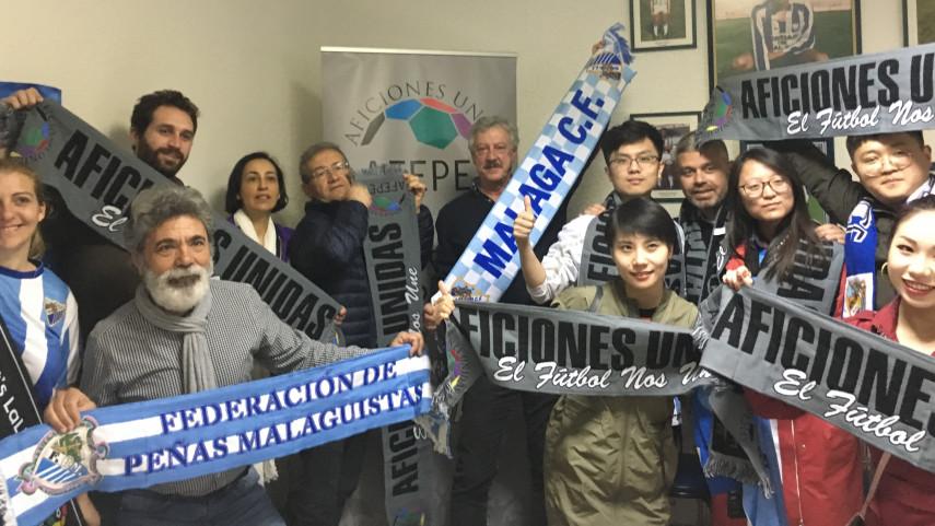 Aficiones Unidas, un anfitrión de lujo para recibir a abonados y periodistas de China y Portugal en Málaga