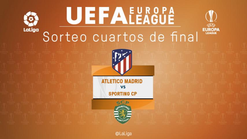 El Atlético de Madrid se enfrentará al Sporting de Portugal en cuartos de la UEFA Europa League