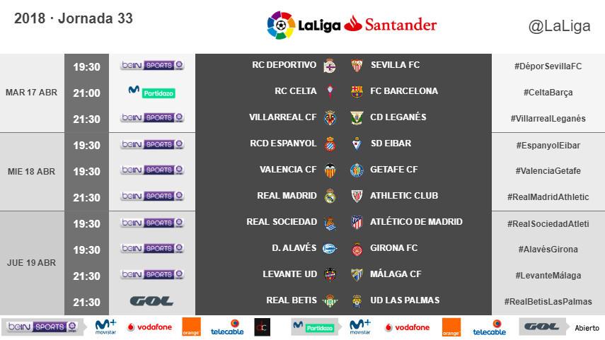 Horarios de la jornada 33 de LaLiga Santander 2017/18
