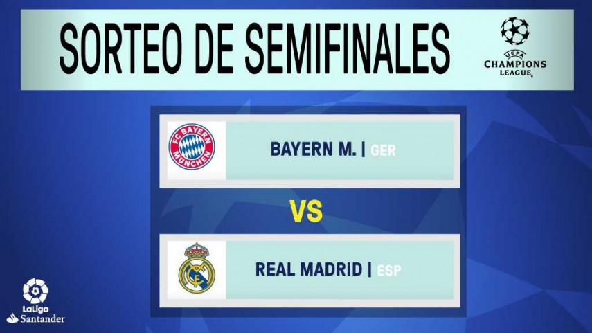 El Real Madrid se medirá al Bayern de Múnich en las semifinales de Champions League