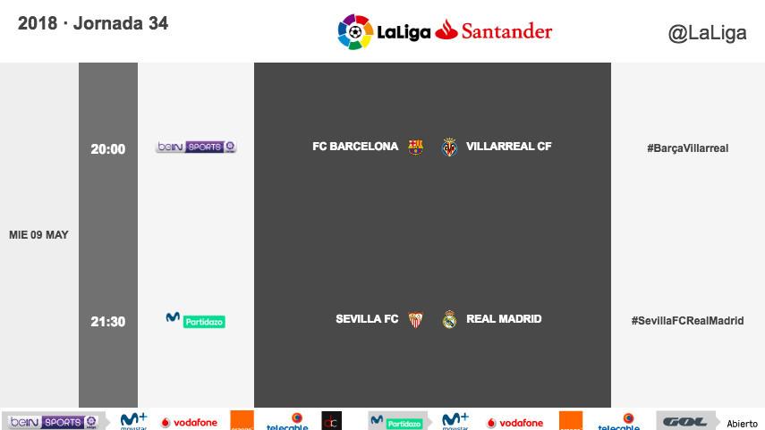 Horarios de los partidos aplazados de la jornada 34 de LaLiga Santander 2017/18