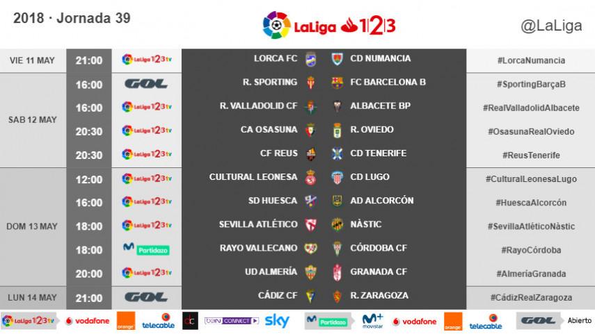 Horarios de la jornada 39 de LaLiga 1l2l3