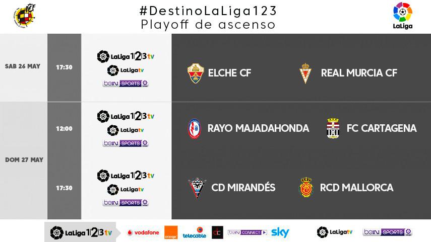 Horarios de los partidos televisados de la vuelta de la 1ª eliminatoria de los play-off de ascenso a LaLiga 1l2l3
