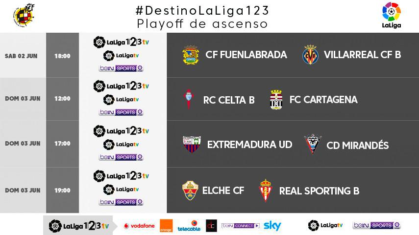 Horarios de los partidos de ida de la 2ª eliminatoria de los play-off con #DestinoLaLiga123