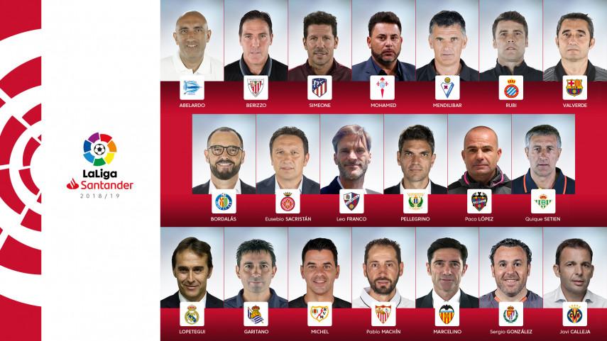 Confirmados los 20 entrenadores de LaLiga Santander 2018/19