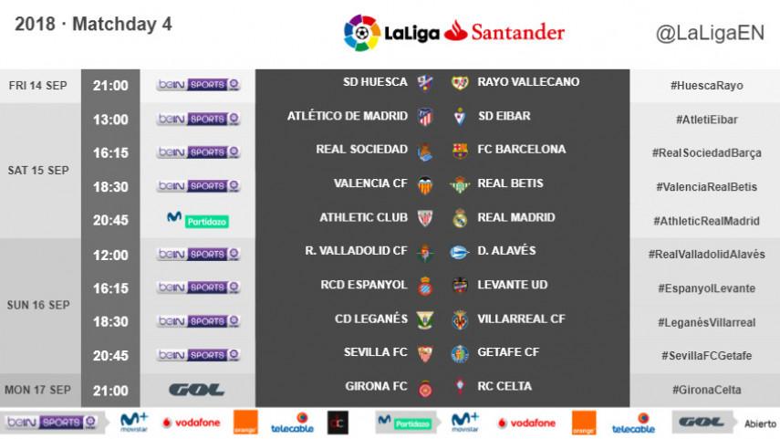 Kick-off times for Matchday 4 in LaLiga Santander 2018/19