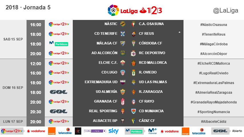 Horarios de la jornada 5 de LaLiga 1l2l3 2018/19