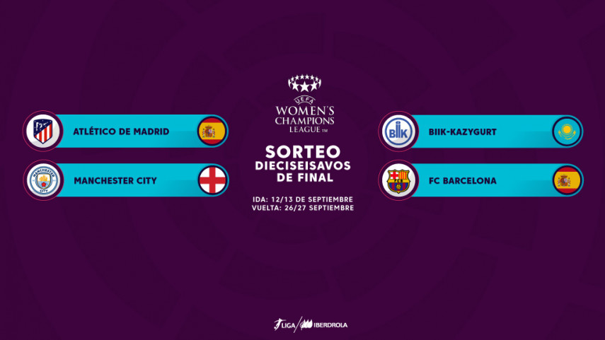 Manchester City y BIIK-Kazygurt, rivales de At. Madrid Femenino y FC Barcelona en la UEFA Women's Champions League