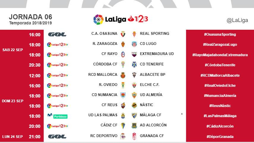 Horarios de la jornada 6 de LaLiga 1l2l3 2018/19