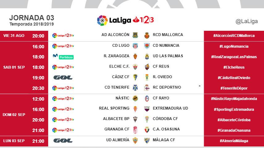Horarios de la jornada 3 de LaLiga 1l2l3 2018/19