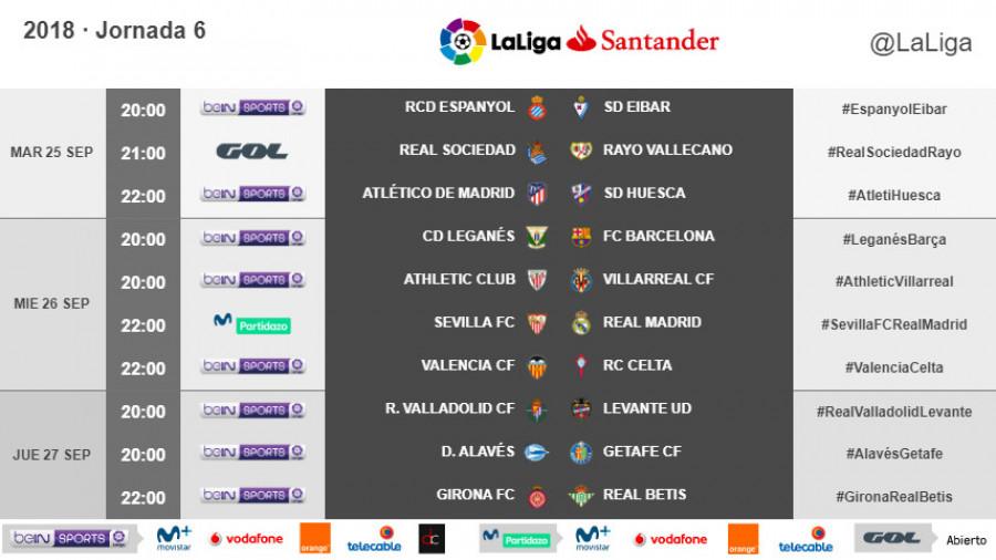 Liga Bbva Calendario 2019.Horarios De La Jornada 6 De Laliga Santander 2018 19 Noticias