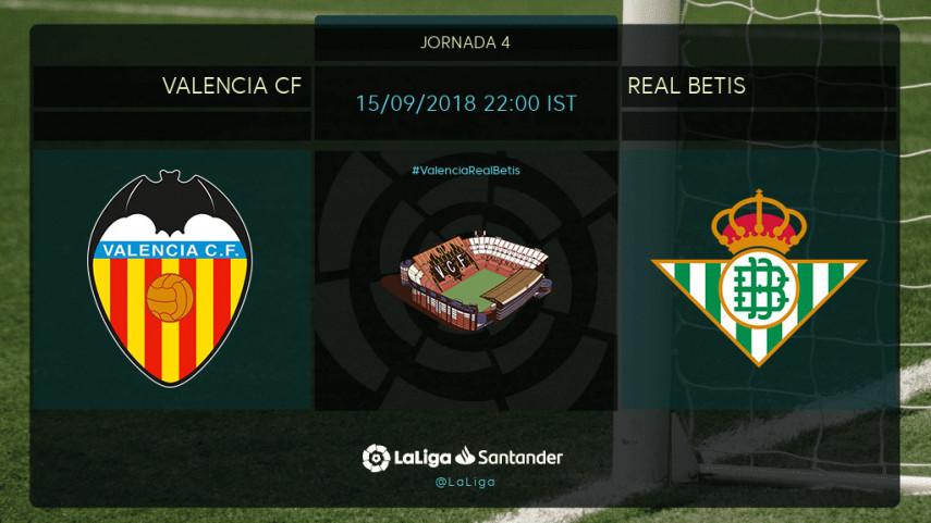 aab8953cbdfd1 Previa del partido Valencia CF - Real Betis - Duelo de aspirantes a todo en  Mestalla 2018