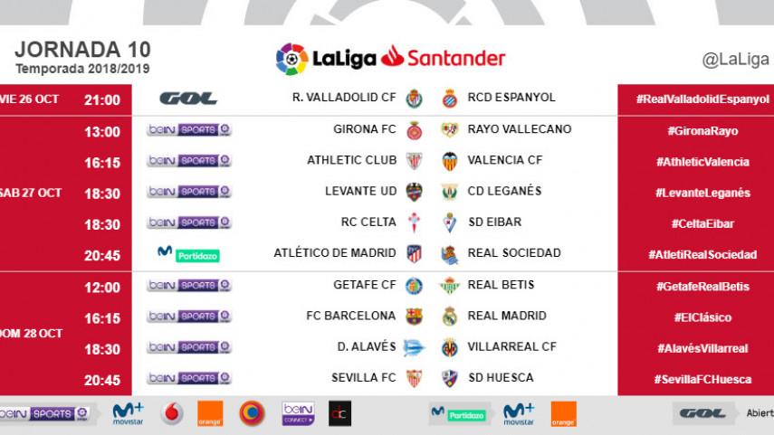 Horarios de la jornada 10 de LaLiga Santander 2018/19
