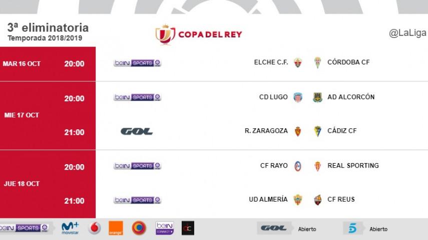 Horarios de la tercera eliminatoria de la Copa del Rey 2018/19