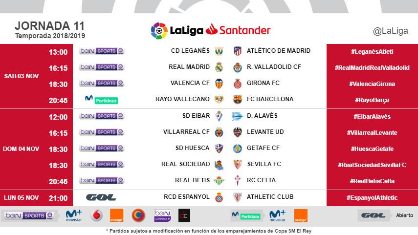 Horarios de la jornada 11 de LaLiga Santander 2018/19