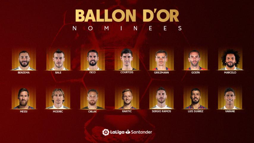 14 de los 30 finalistas del Balón de Oro juegan en LaLiga