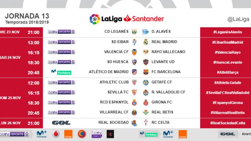 Horarios de la jornada 13 de LaLiga Santander 2018/19