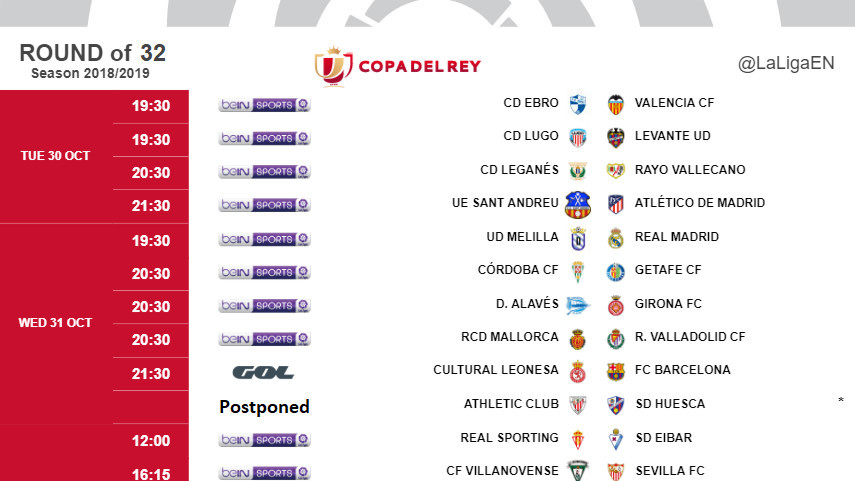 Kick-off times (CET) for Copa del Rey round of 32 first leg matches