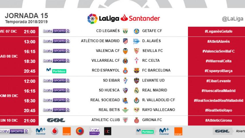 Horarios de la jornada 15 de LaLiga Santander 2018/19