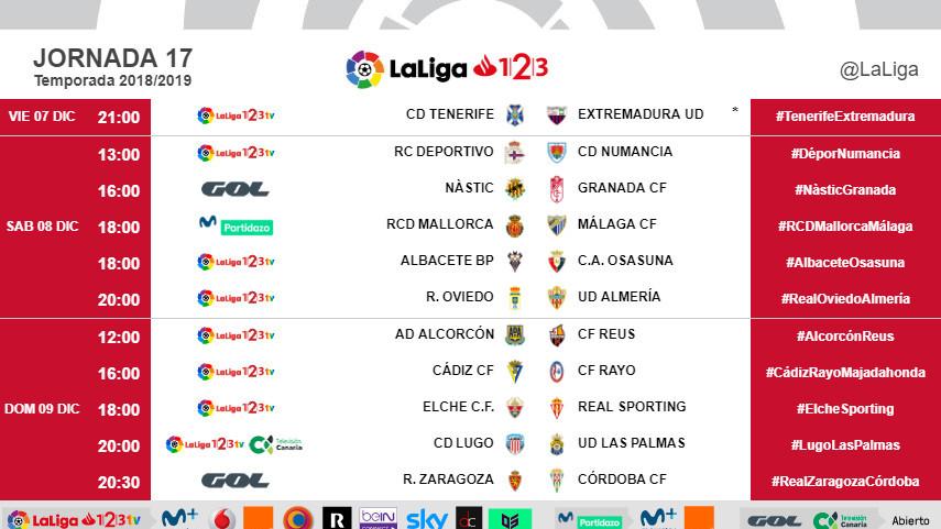 Horarios de la jornada 17 de LaLiga 1l2l3 2018/19